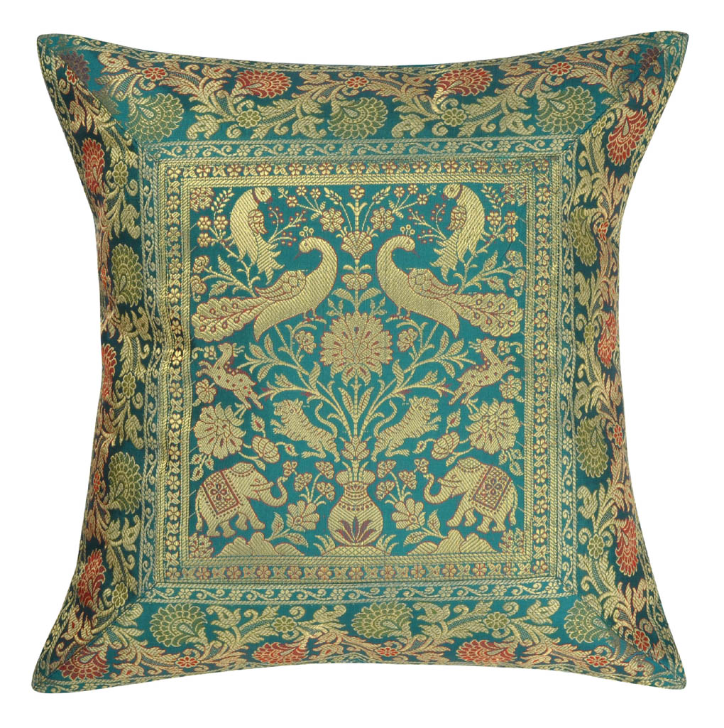 Home Furnishing Christmas Decoration Gift Silk Brocade Cushion Cover 16 x 16 Inches